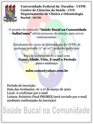 Universidade Federal da  Paraíba - UFPB Centro de Ciências da Saúde - CCS