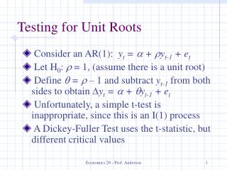Testing for Unit Roots