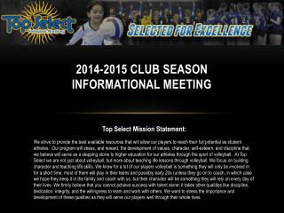 2014-2015 CLUB SEASON INFORMATIONAL MEETING
