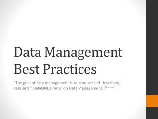 Data Management Best Practices