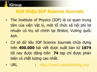 Giới thiệu  IOP Science Journals