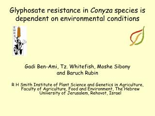 Glyphosate resistance in Conyza species is dependent on environmental conditions