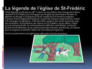 La légende de l'église de St-Frédéric