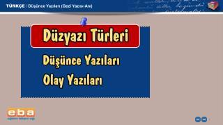 T�RK�E /  D�?�nce Yaz?lar? ( Gezi  Yaz?s?-An?)