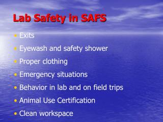 Lab Safety in SAFS
