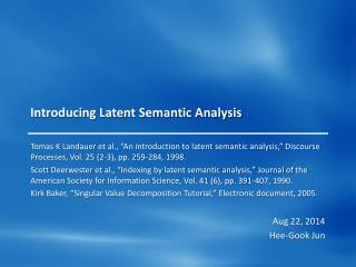 Introducing Latent Semantic Analysis