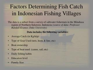 Factors Determining Fish Catch in Indonesian Fishing Villages