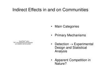 Indirect Effects in and on Communities