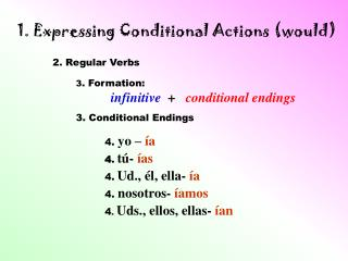 1. Expressing Conditional Actions (would)