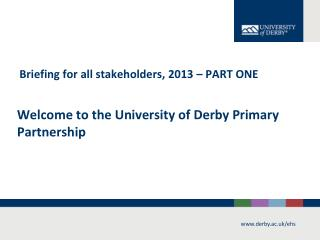 Welcome to the University of Derby Primary Partnership