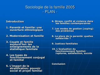 Sociologie de la famille 2005 - PLAN -