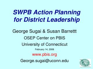 SWPB Action Planning for District Leadership