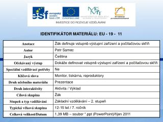 Identifikátor materiálu: EU - 19 -  11