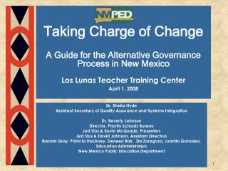 Taking Charge of Change  A Guide for the Alternative Governance Process in New Mexico  Los Lunas Teacher Training Center