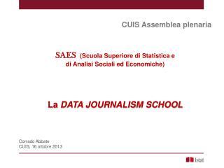 CUIS Assemblea plenaria SAES  (Scuola Superiore di Statistica e di Analisi Sociali ed Economiche)