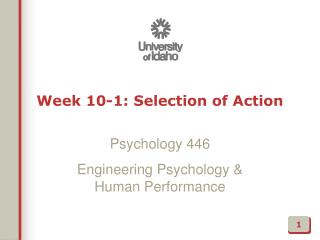 Week 10-1: Selection of Action