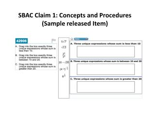 SBAC Claim 1: Concepts and Procedures (Sample released Item)