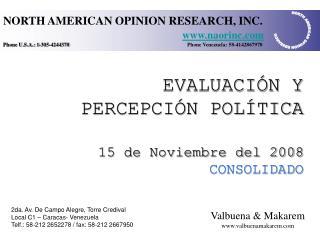 EVALUACI N Y PERCEPCI N POL TICA   15 de Noviembre del 2008 CONSOLIDADO