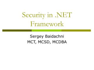 Security in .NET Framework