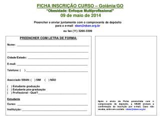 """FICHA INSCRIÇÃO CURSO – Goiânia/GO """"Obesidade: Enfoque Multiprofissional""""  09 de maio de 2014"""