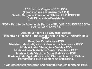 2º Governo Vargas – 1951-1955  (Tomou posse em janeiro de 1951)