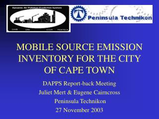MOBILE SOURCE EMISSION INVENTORY FOR THE CITY OF CAPE TOWN
