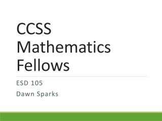 CCSS Mathematics Fellows
