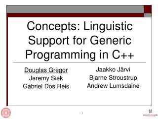 Concepts: Linguistic Support for Generic Programming in C++
