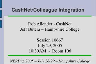CashNet/Colleague Integration