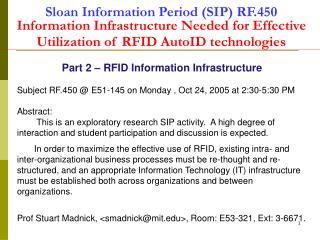 Part 2 – RFID Information Infrastructure