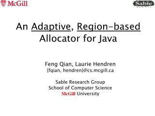 An  Adaptive ,  Region-based  Allocator for Java