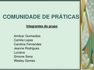 COMUNIDADE DE PRÁTICAS