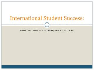 International Student Success: