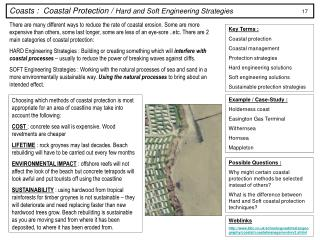 Coasts :  Coastal Protection /  Hard and Soft Engineering Strategies