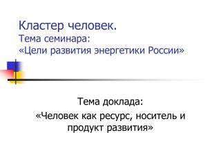 Кластер человек. Тема семинара: «Цели развития энергетики России»