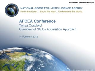 AFCEA Conference Tonya Crawford Overview of NGA s Acquisition Approach