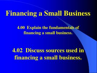 Financing a Small Business