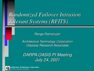 Randomized Failover Intrusion Tolerant Systems (RFITS)