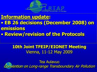 Information update :  EB 26 decisions (December 2008) on emissions