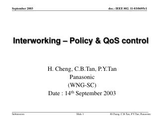 Interworking – Policy & QoS control