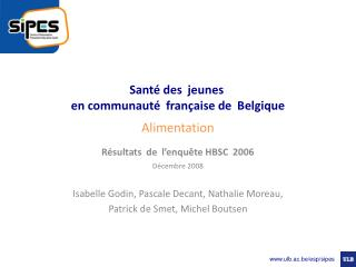Santé des jeunes  en communauté française de Belgique Alimentation