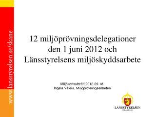 12 milj�pr�vningsdelegationer den 1 juni 2012 och L�nsstyrelsens milj�skyddsarbete