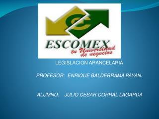 LEGISLACION ARANCELARIA  PROFESOR:  ENRIQUE BALDERRAMA PAYAN.