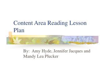 Content Area Reading Lesson Plan