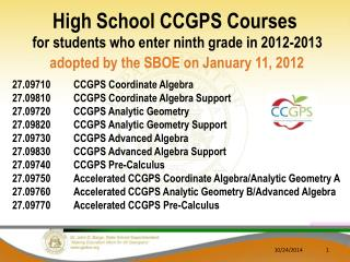 27.09710	CCGPS Coordinate Algebra 27.09810	CCGPS Coordinate Algebra Support