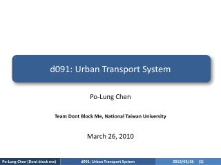 d091:  Urban Transport System