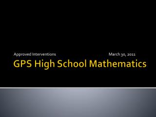 GPS High School Mathematics