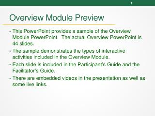 Overview Module Preview