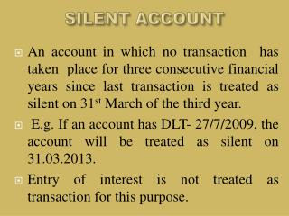 SILENT ACCOUNT