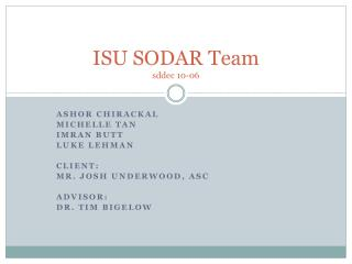 ISU SODAR Team sddec  10-06